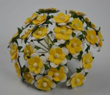 LIGHT YELLOW WHITE 2-LAYERED sweetheart blossom Mulbery Paper Flowers